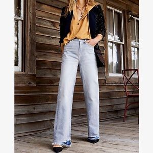 Free People | Relaxed Straight Slouch Raw Hem Jean